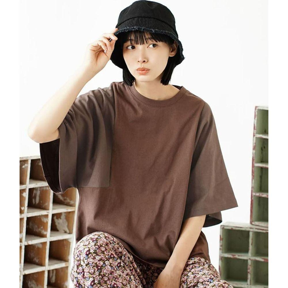 日本 zootie - 抗透汗 撞色顯瘦設計寬版五分袖上衣-咖啡
