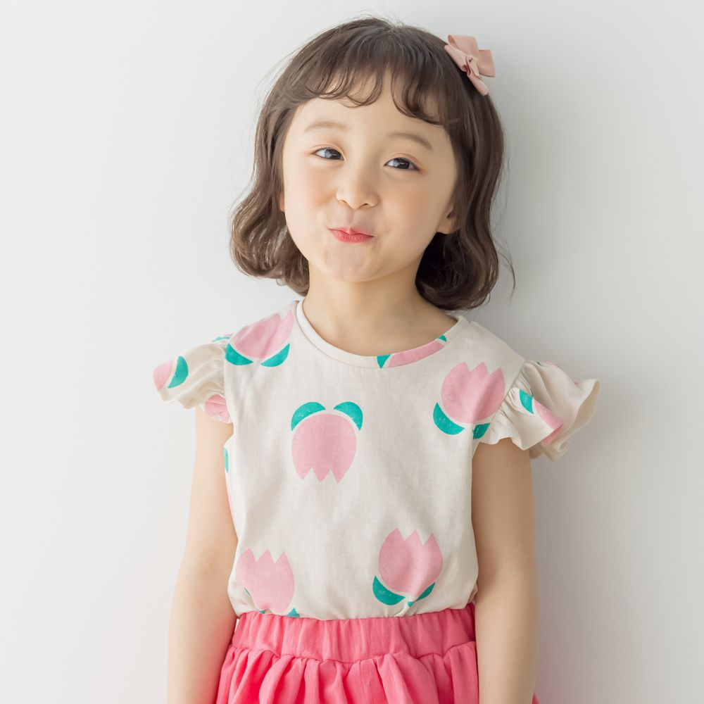 韓國 Orange Mom - 萌萌鬱金香荷葉袖上衣-米杏