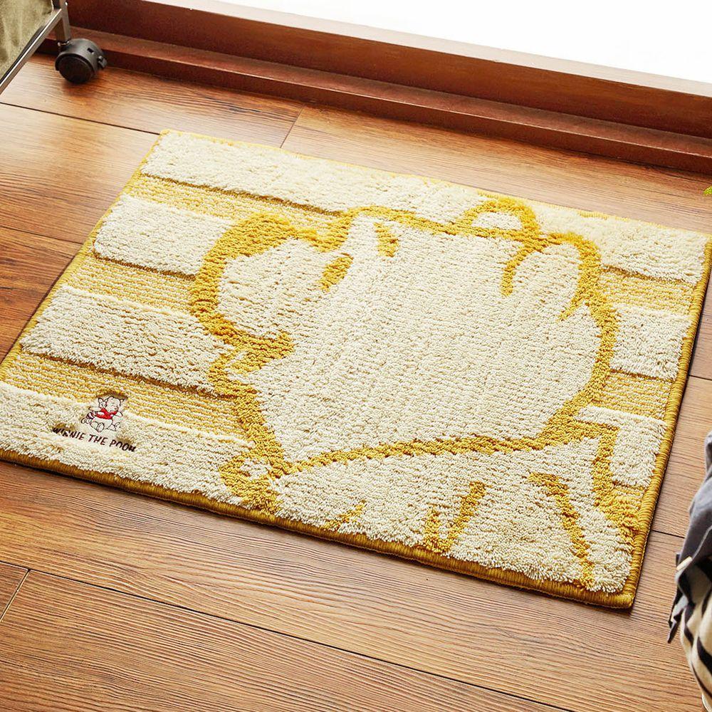 日本千趣會 - 迪士尼 吸水速乾腳踏墊(抗菌防臭加工)-維尼大臉-橘黃 (45x60cm)