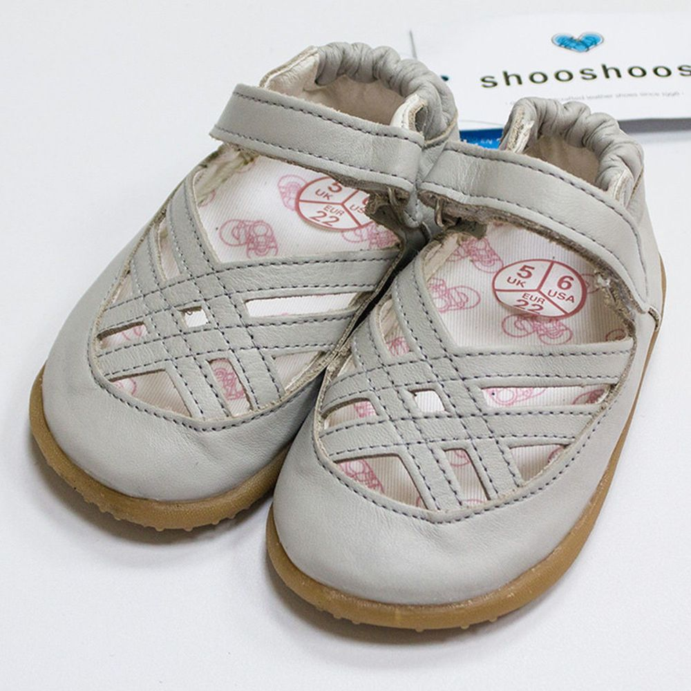 英國 shooshoos - 健康無毒真皮手工涼鞋/童鞋-優雅灰編織