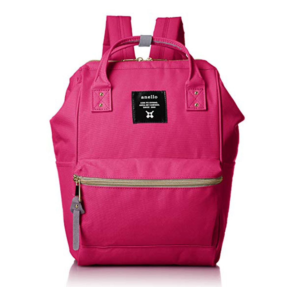 日本 Anello - 日本大開口牛津布後背包-mini小尺寸-SPI桃紅色