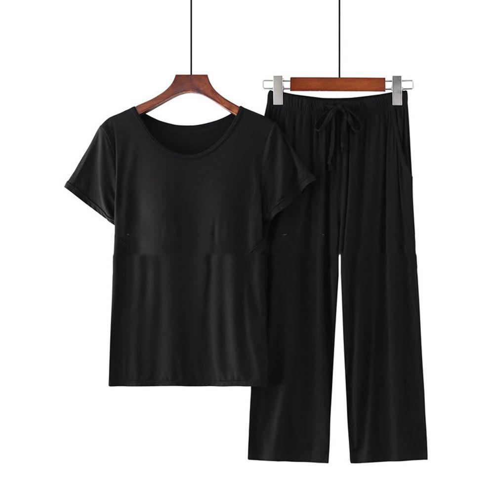 莫代爾柔軟涼感Bra T家居服-七分褲套裝-黑色