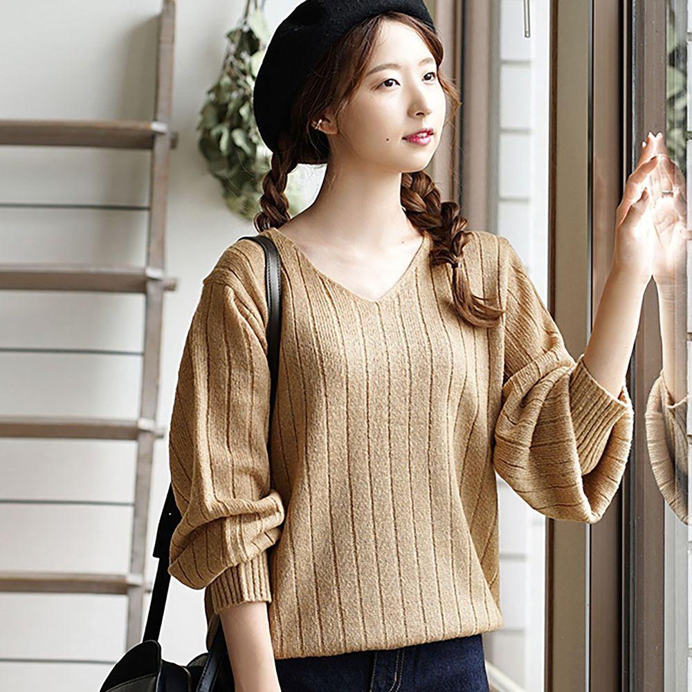 日本 zootie - 直條羅紋V領毛衣-焦糖棕