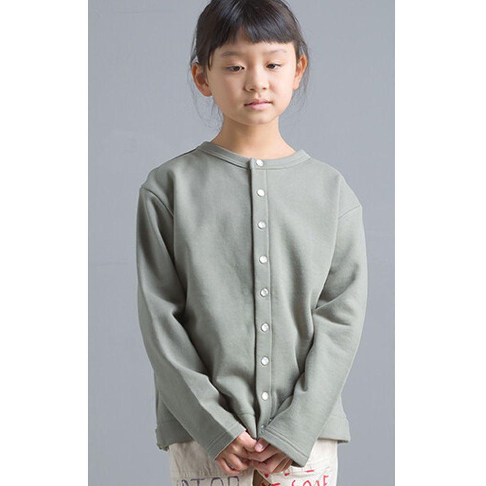 日本女裝代購 - 2way珍珠鈕扣裏毛上衣/外套(小孩)-灰綠