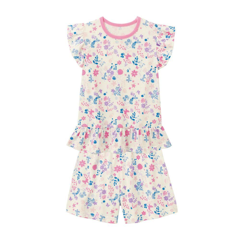 日本千趣會 - GITA 接觸涼感舒適短袖家居服-法式浪漫花卉-粉紫
