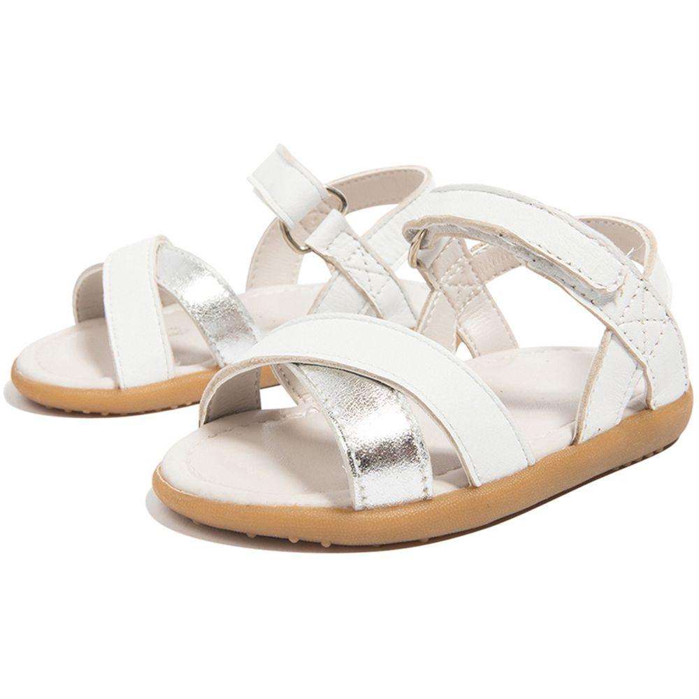 英國 shooshoos - 健康無毒真皮手工涼鞋/童鞋-白銀撞色