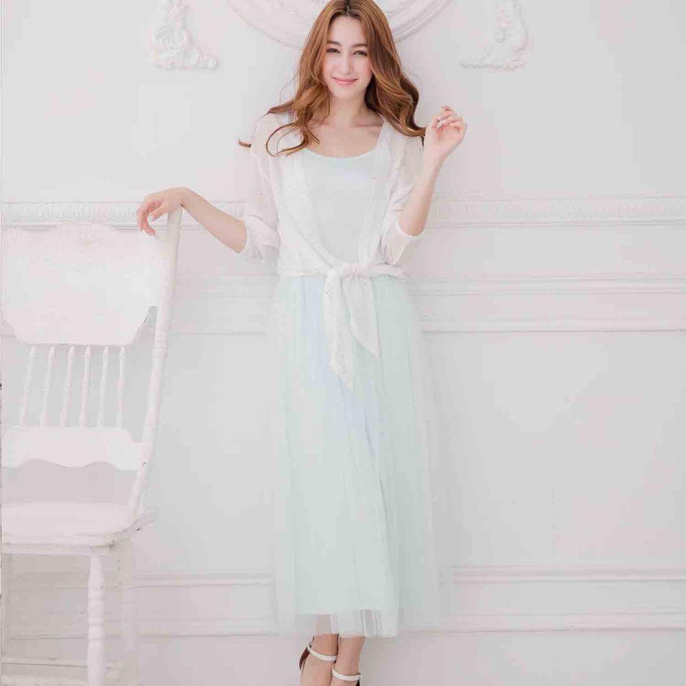 Peachy - 獨家訂製綿柔連身紗裙-細肩帶連身款-薄荷綠 (F)