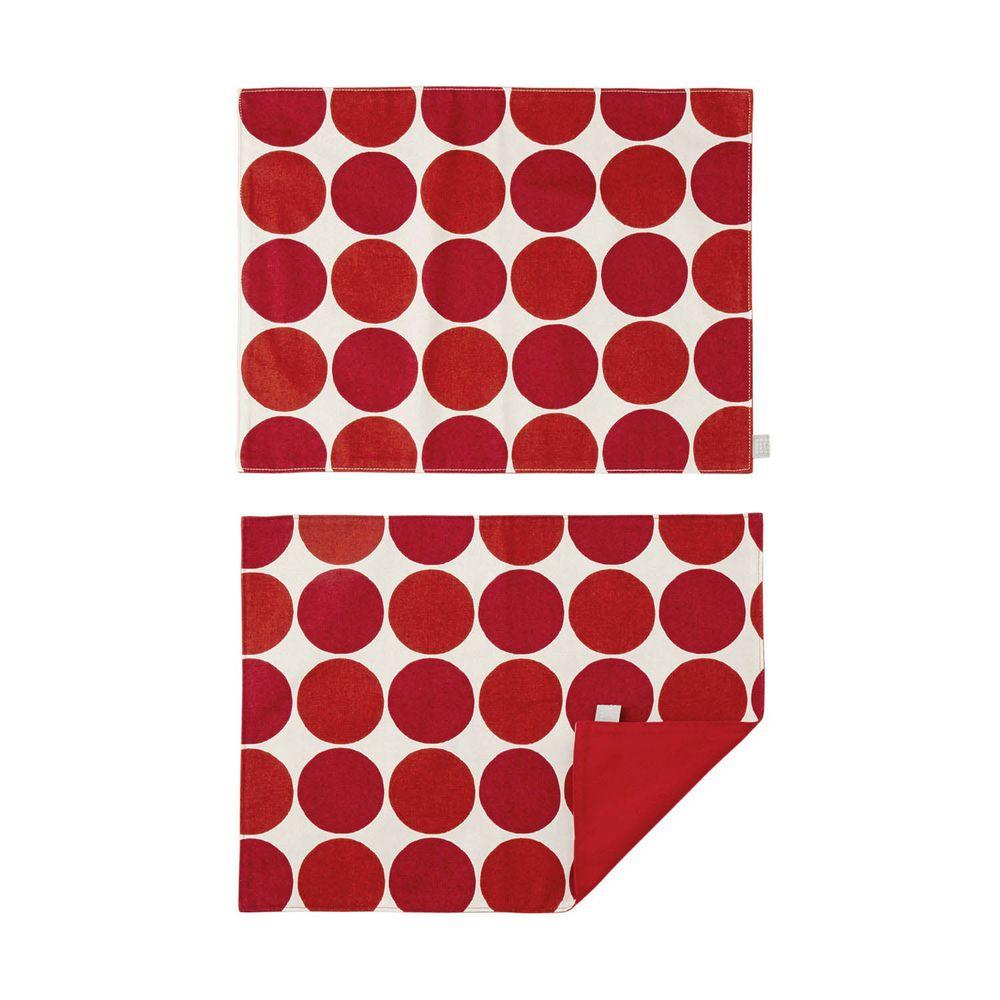 日本千趣會 - 日本製 純棉餐墊兩入組-普普圓點-紅 (46x35cm)