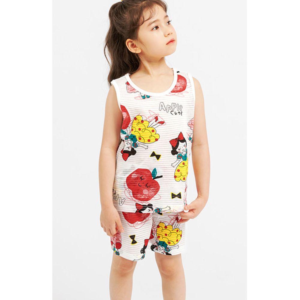 韓國 Mellisse - 韓製輕薄透氣無袖家居服(無螢光棉)-白雪公主與蘋果