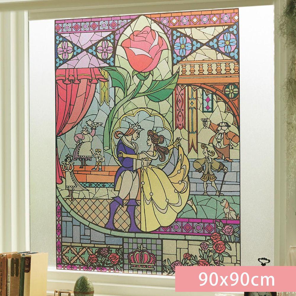 日本千趣會 - 迪士尼 日本製 90%抗UV光影窗貼(靜電式)-美女與野獸 (90x90cm)