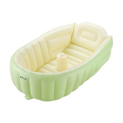 泵浦充氣式嬰兒浴盆_黃綠
