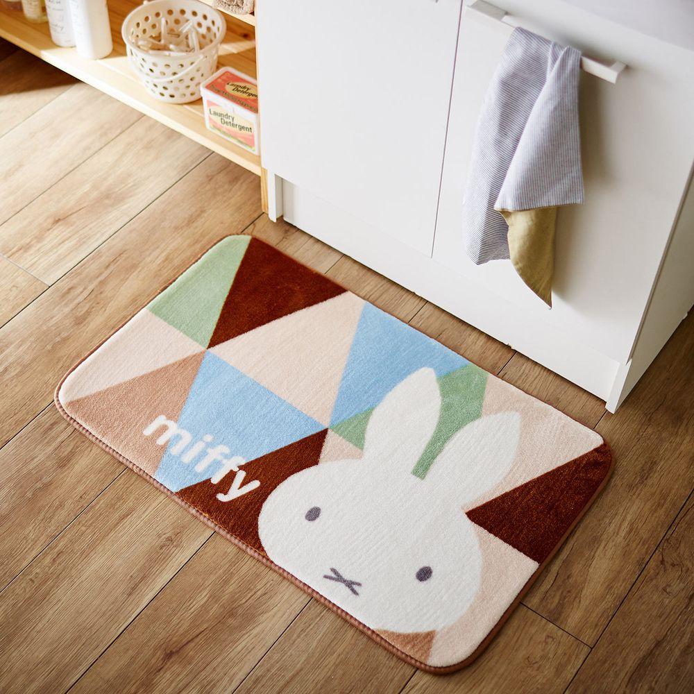 日本千趣會 - 米飛兔 長條型腳踏墊(廚房/臥室/玄關)-咖啡綠藍