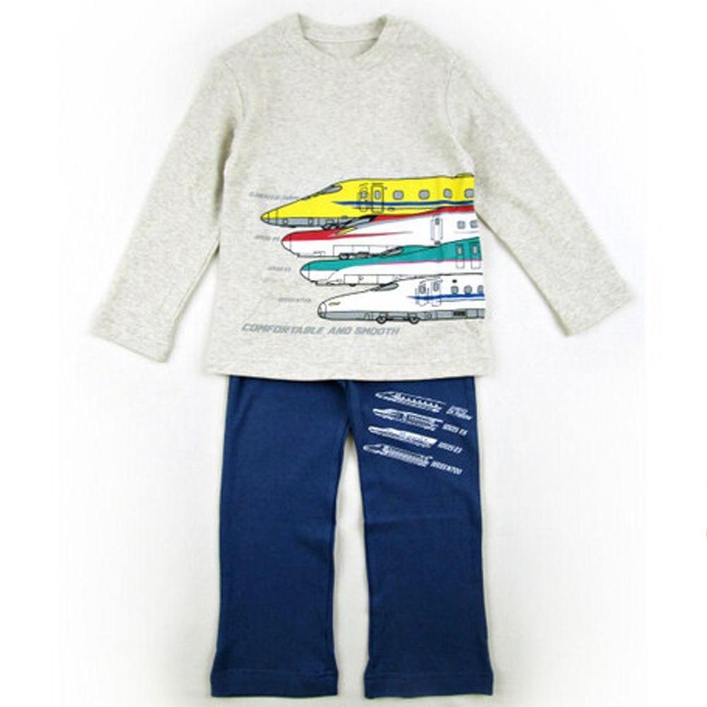 日本服飾代購 - 純棉印花長袖家居服-新幹線-燕麥X深藍褲