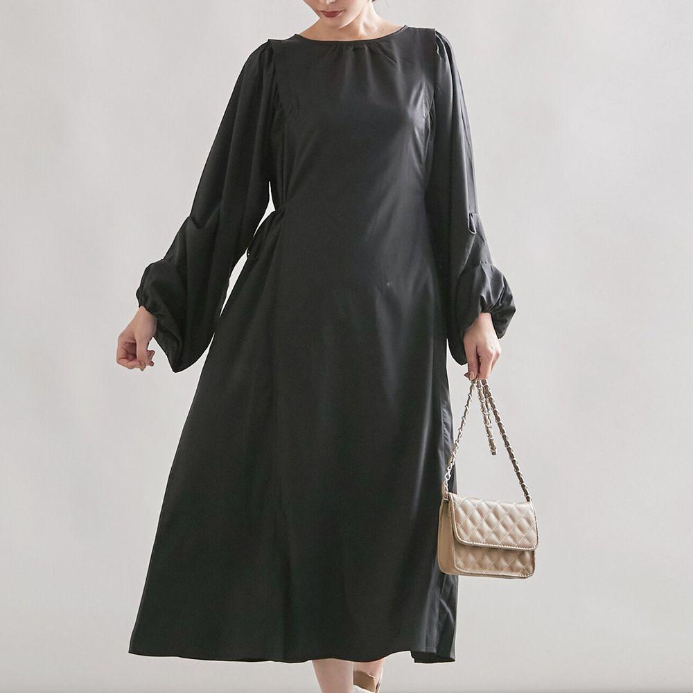 日本女裝代購 - 抓皺設計綁帶長袖洋裝-黑 (M(Free size))