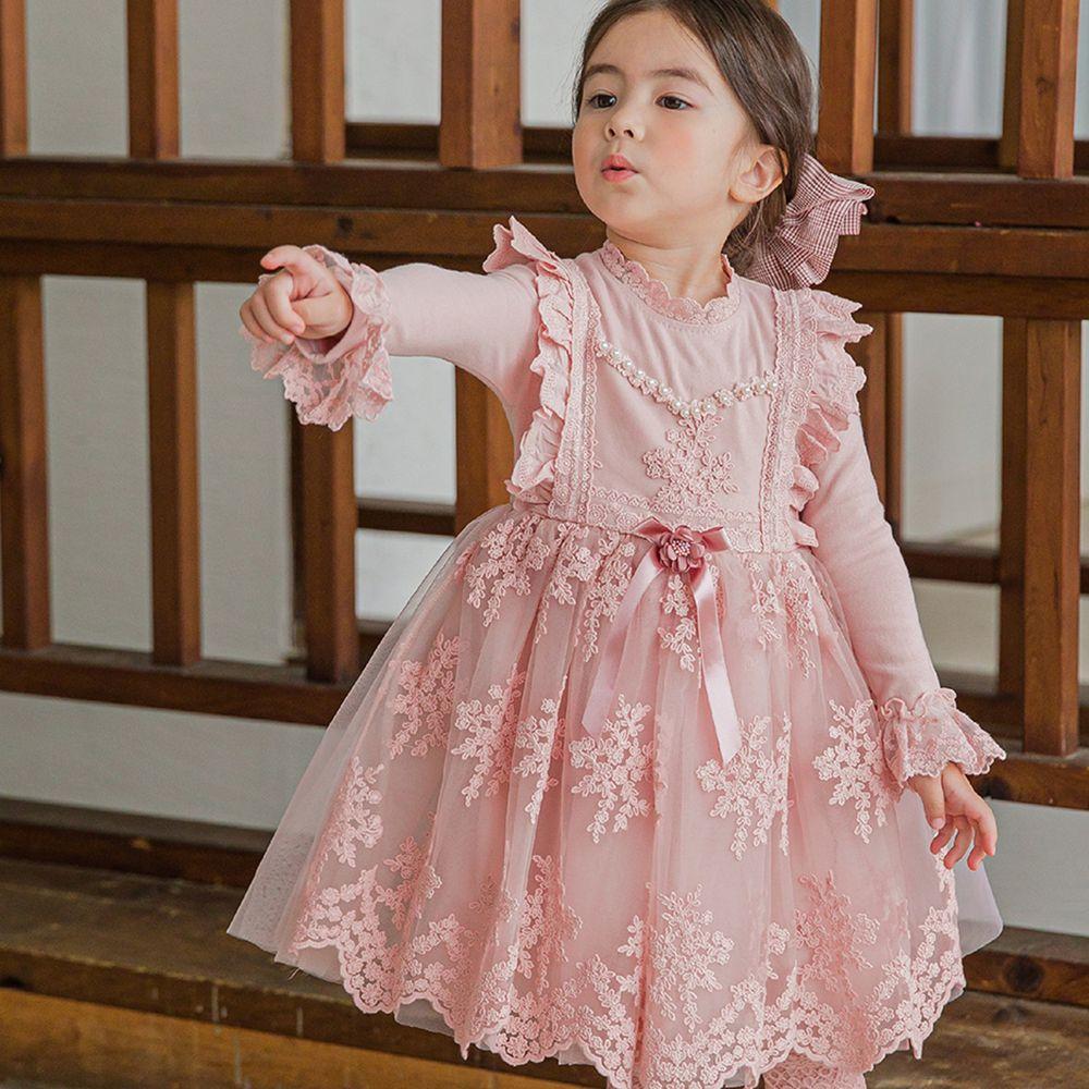 韓國 mari an u - 蕾絲袖口雕花紗裙洋裝-粉紅