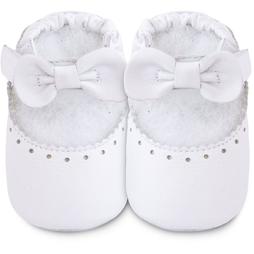 英國 shooshoos - 健康無毒真皮手工鞋/學步鞋/嬰兒鞋/室內鞋/室內保暖鞋-白蝴蝶音樂盒