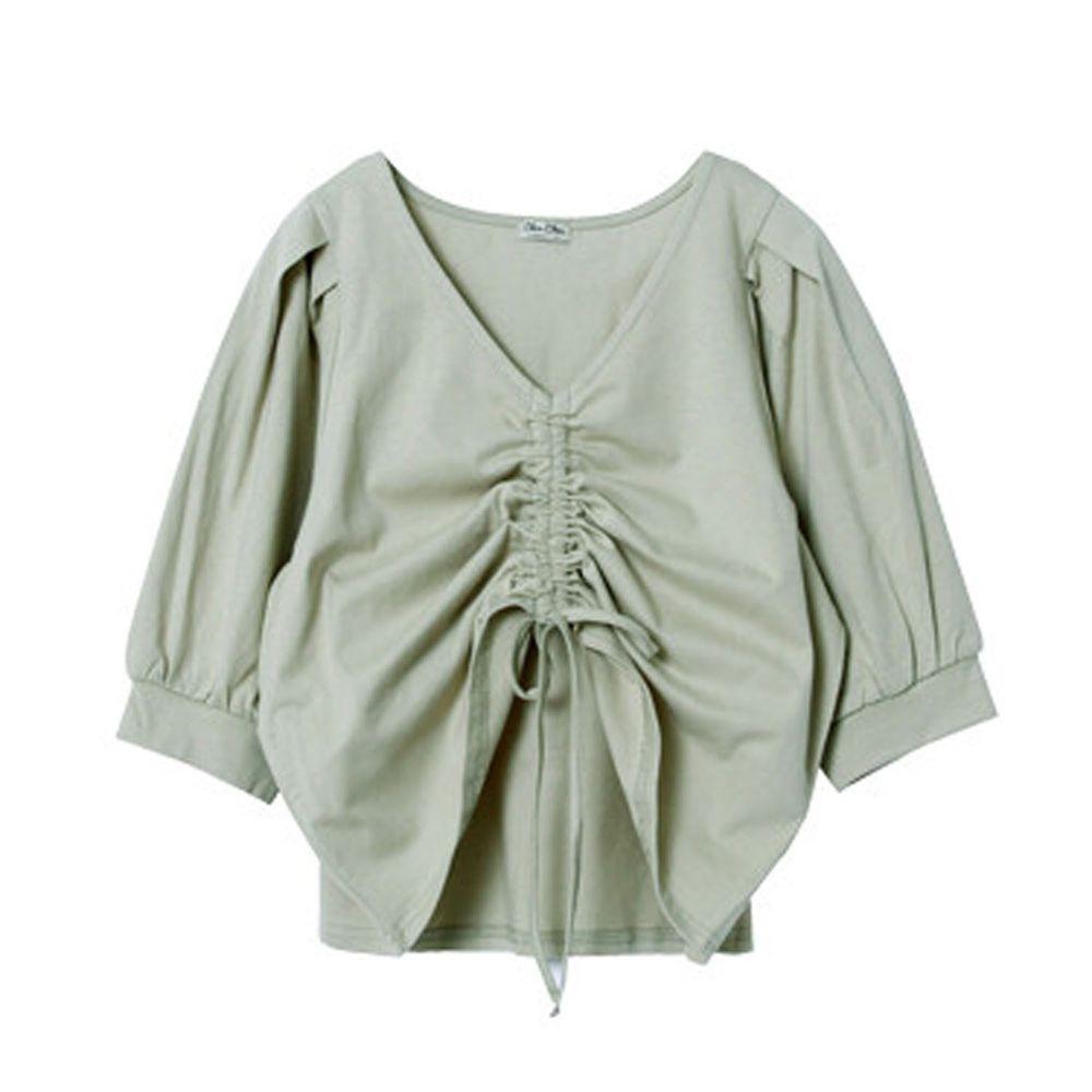 日本 Rejoule - V領抓皺綁帶設計五分袖上衣-綠 (M(Free size))
