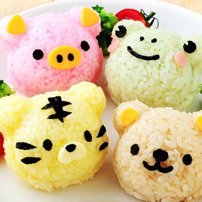 四種小動物造型米飯模具