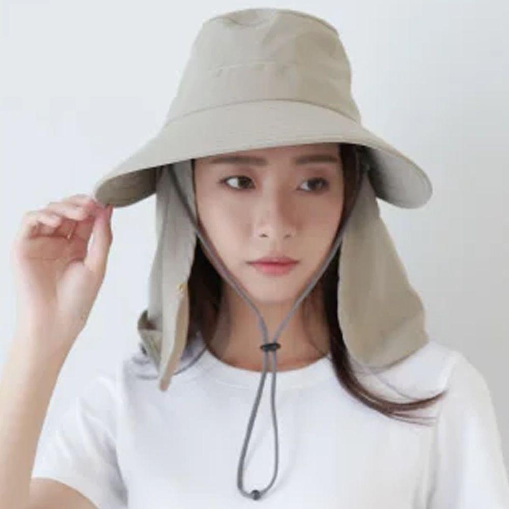 貝柔 Peilou - UPF50+多功能淑女護頸遮陽帽-卡其