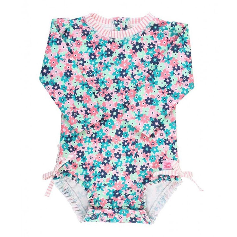 美國 RuffleButts - 小女童UPF 50+防曬長袖連身泳裝-熱帶萬花筒