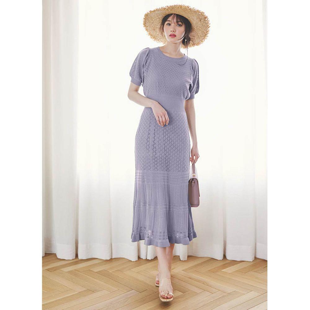 日本 GRL - 優雅針織鏤空雕花設計短袖洋裝(附背心襯裙)-淺紫藍