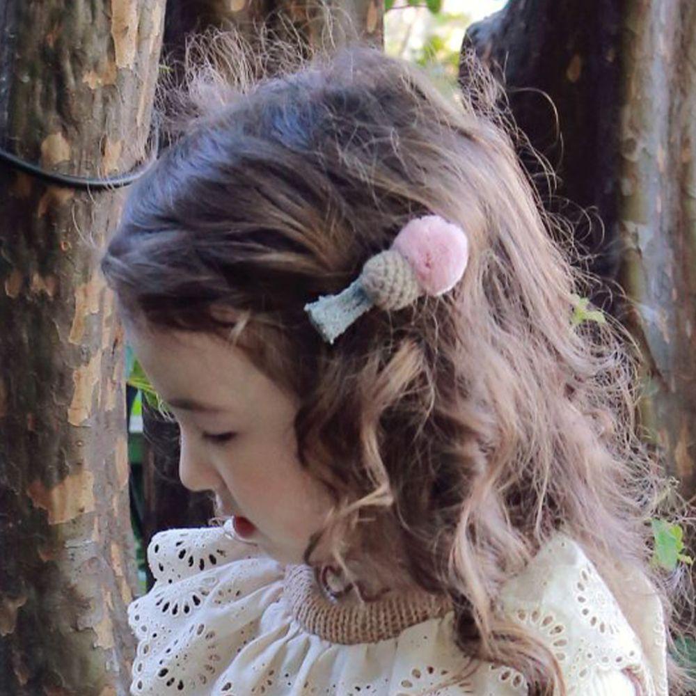 韓國 PuellaFLO - 針織毛球髮飾/髮夾-粉紅X暗綠