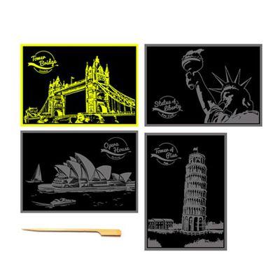 手刮城市金色夜景明信片組-Ver.1:倫敦橋、自由女神、雪梨歌劇院、比薩斜塔