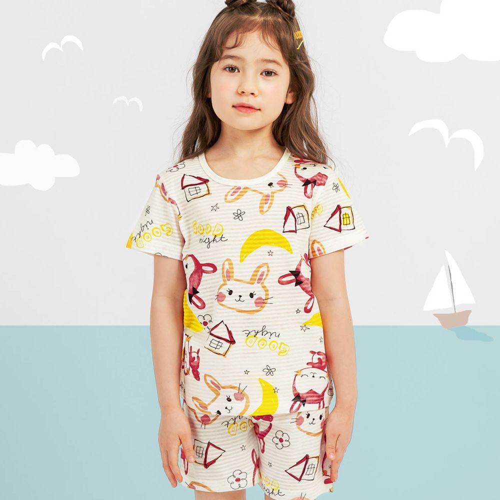 韓國 Mellisse - 韓製透氣輕薄短袖家居服(無螢光棉)-月亮小兔