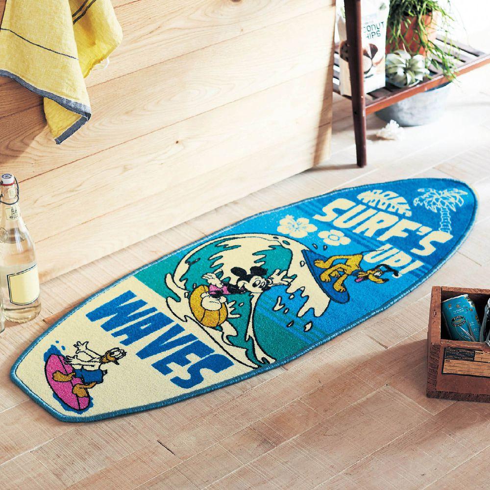 日本千趣會 - 迪士尼 長條型腳踏墊(廚房/臥室)-衝浪米奇與好友
