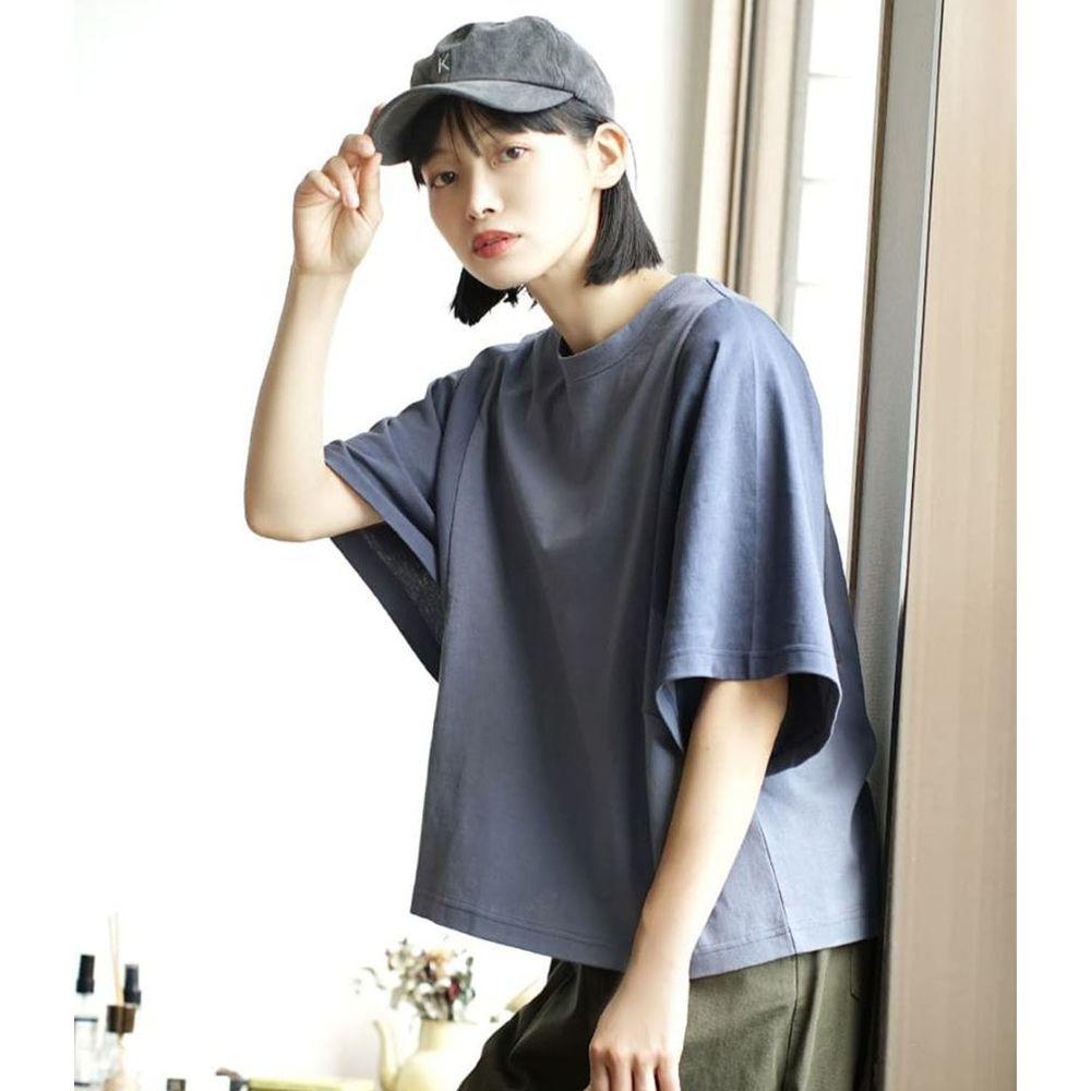 日本 zootie - 抗透汗 撞色顯瘦設計寬版五分袖上衣-灰藍
