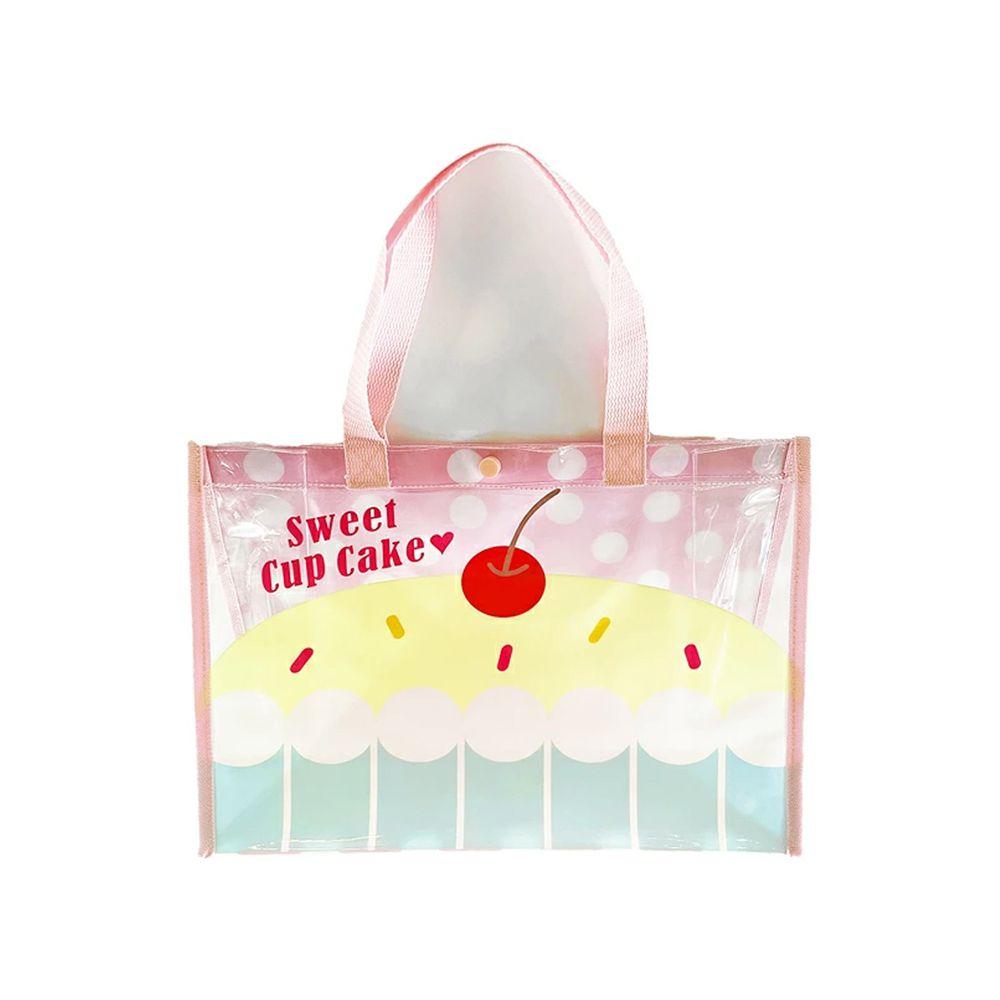 日本服飾代購 - 防水PVC游泳包(雙面圖案設計)-杯子蛋糕-粉紅 (25x36x13cm)