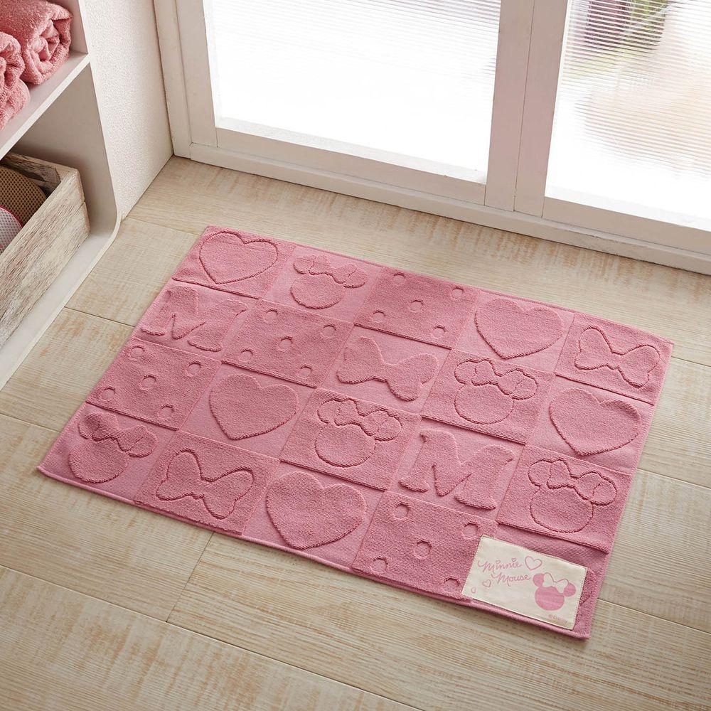 日本千趣會 - 迪士尼 純棉吸水毛巾腳踏墊-米妮凹凸-粉紅 (45x62cm)