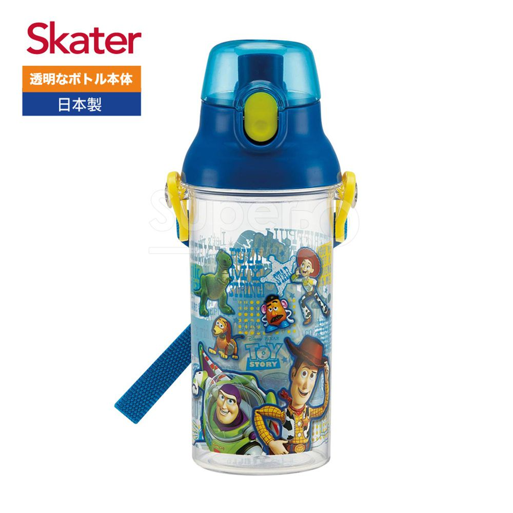 日本 SKATER - 兒童直飲透明水壺 (480ml)-玩具總動員-藍