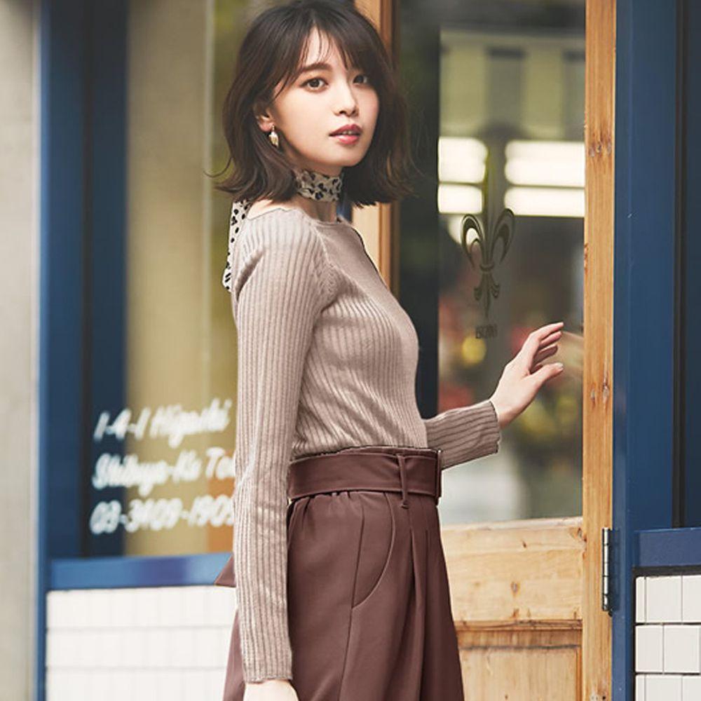 日本 GRL - 修身方領羅紋針織上衣-杏