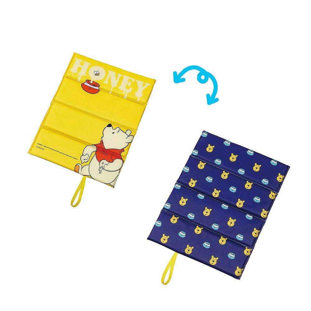 日本 Pearl 金屬 - 迪士尼單人折疊坐墊(1cm厚)-維尼-黃X藍 (34×27.5cm)