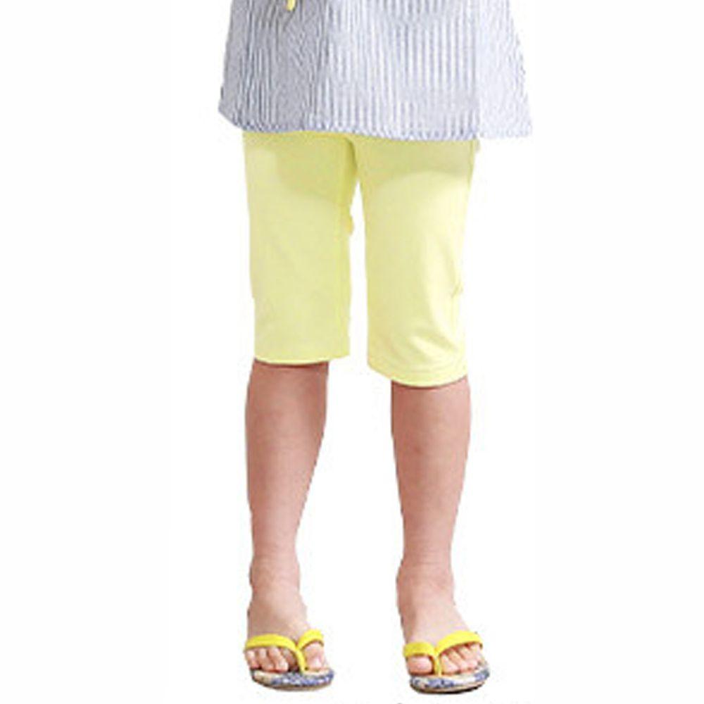 日本 TORIDORY - 百搭舒適丹寧風七分褲-檸檬黃