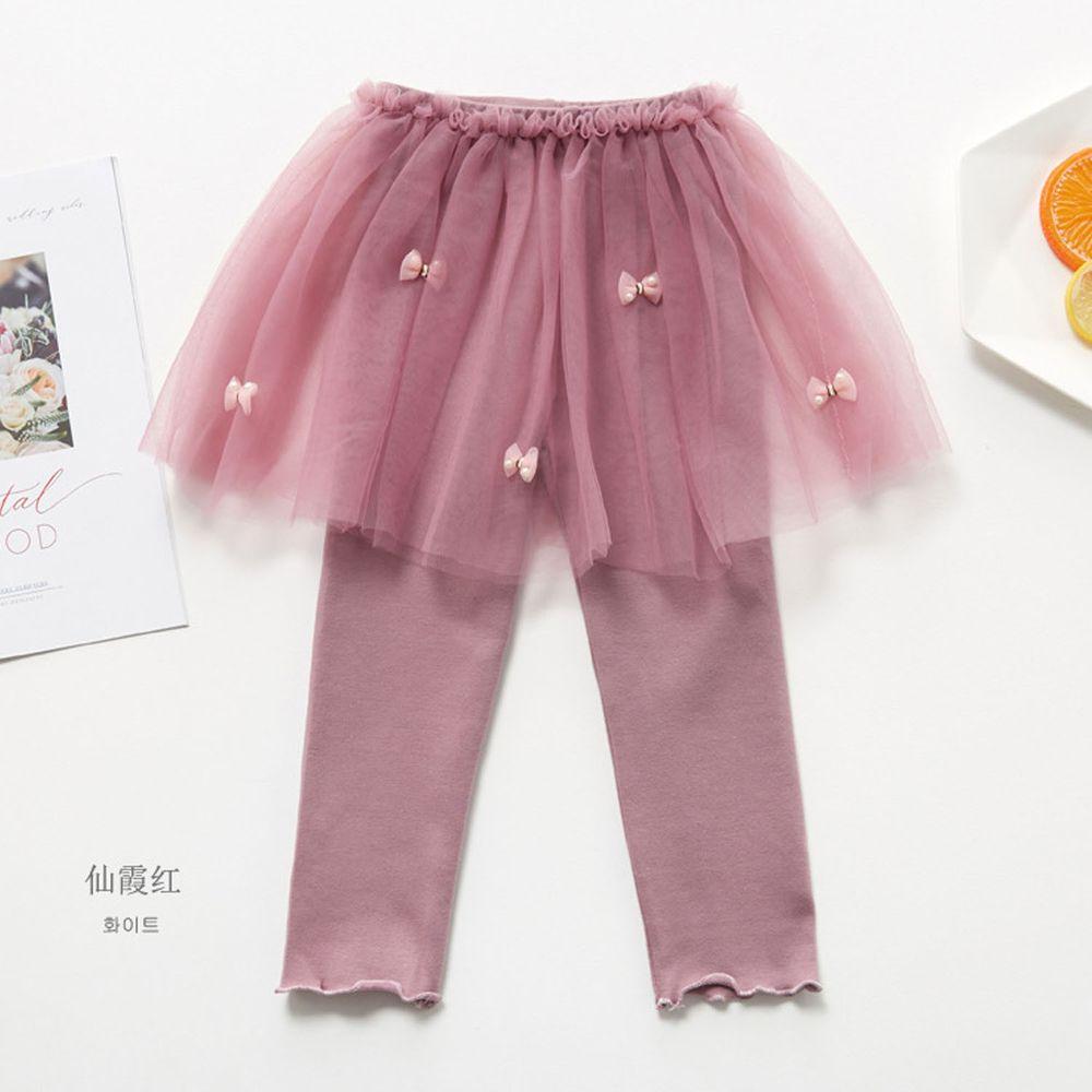 FANMOU - 內搭褲裙-蝴蝶結紗裙-玫瑰紅