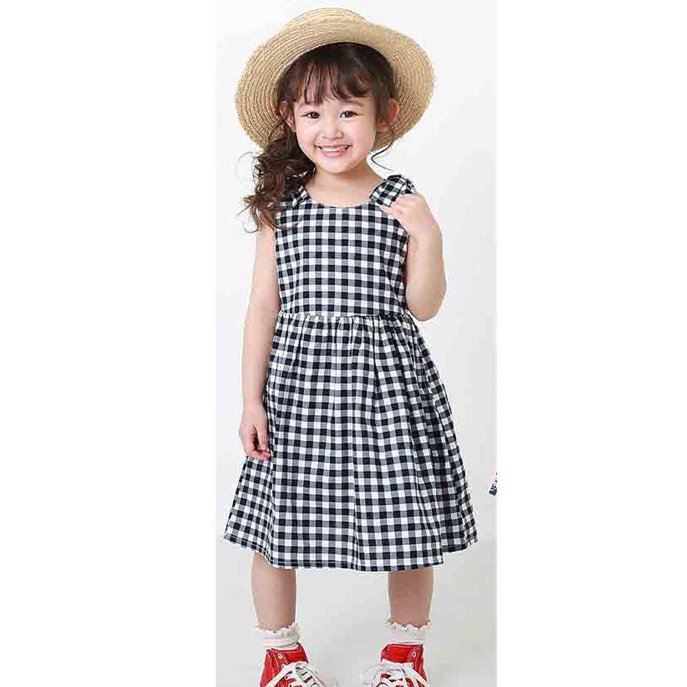 日本 devirock - 純棉雙肩蝴蝶結造型無袖洋裝/親子裝-黑白格子