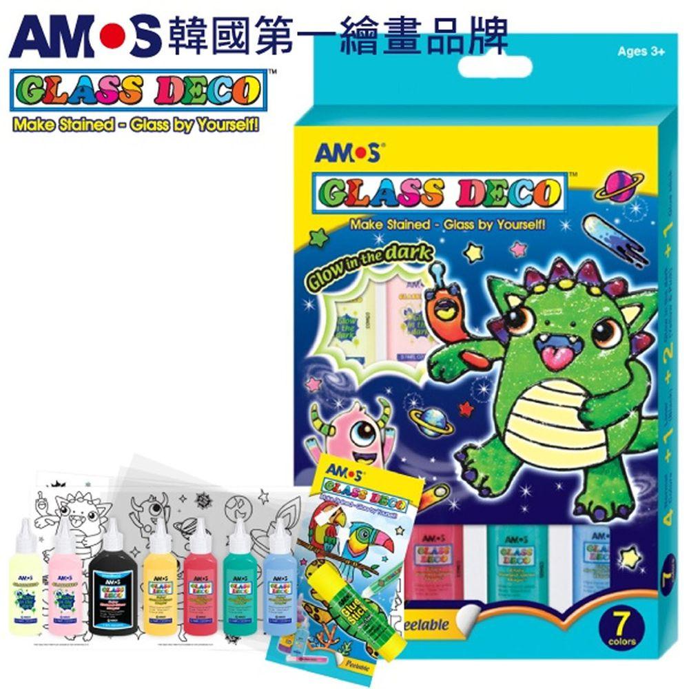 韓國 AMOS - 7色夜光22ml玻璃彩繪膠