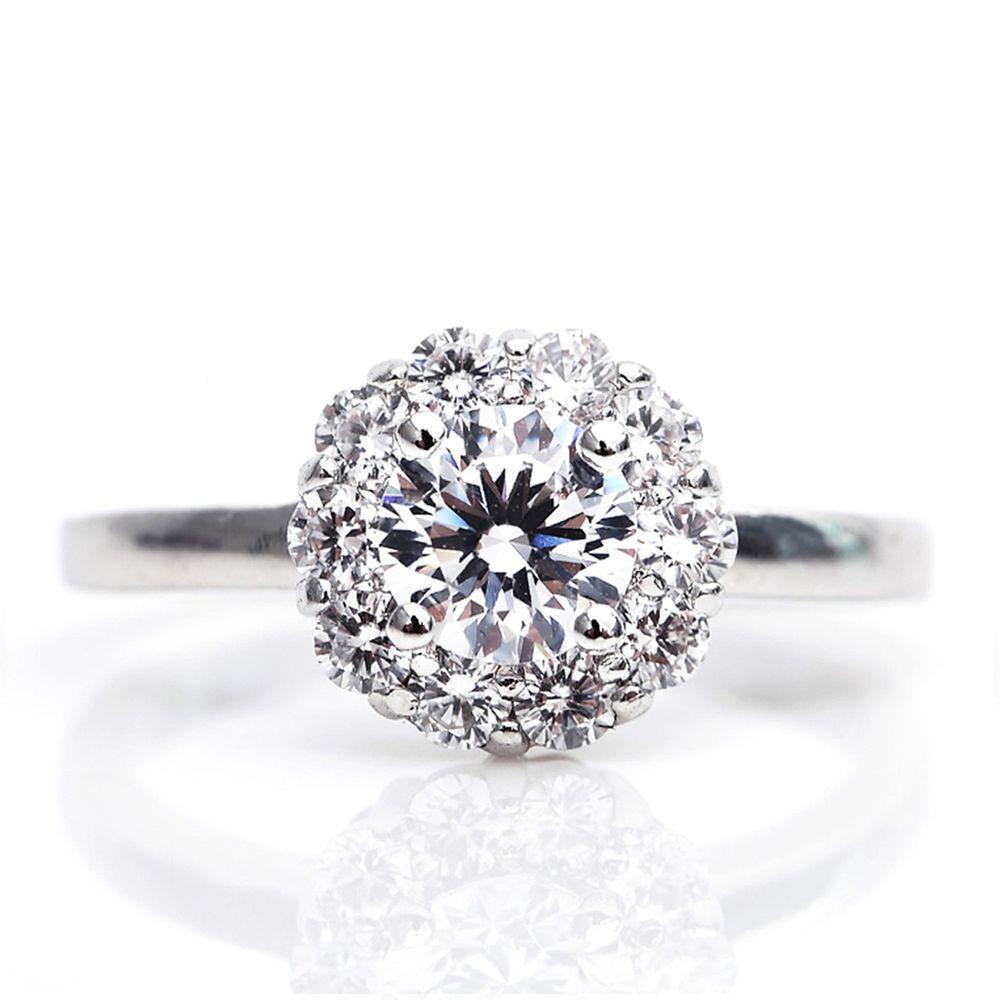 美國ILG鑽飾 - Blooming 綻放摯愛1克拉戒指 – 頂級美國ILG Diamond,媲美真鑽亮度的鑽飾【RI017】-加贈高級珠寶級絨布盒1個-外國抗敏材質電鍍頂級白K金色
