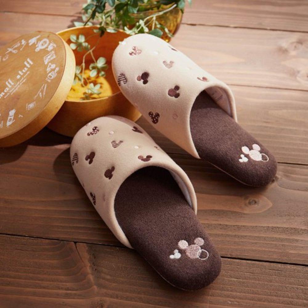 日本千趣會 - 迪士尼室內拖鞋-米奇圖案點點-杏咖啡