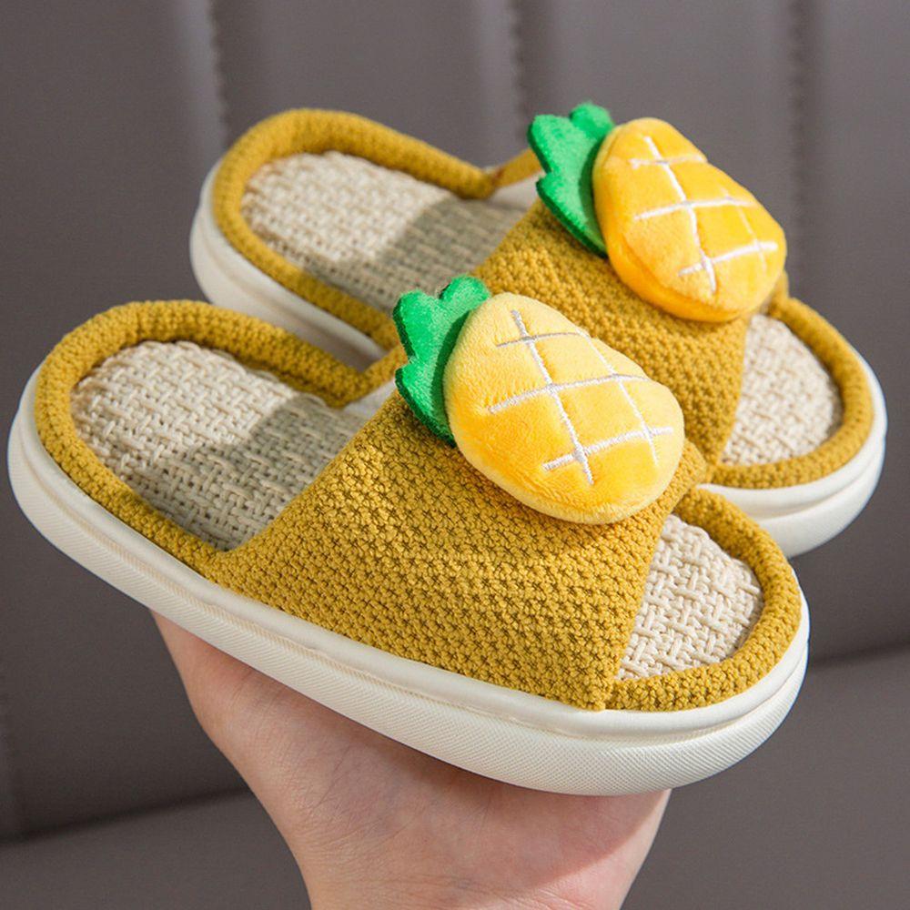 兒童款亞麻室內拖鞋-立體水果-黃色