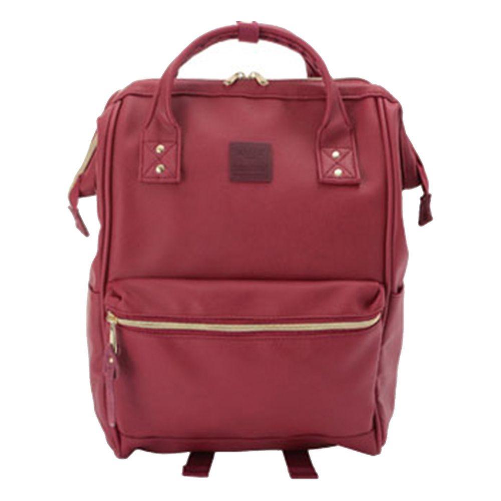 日本 Anello - 日本大開口皮革後背包-Regular大尺寸-WI酒紅