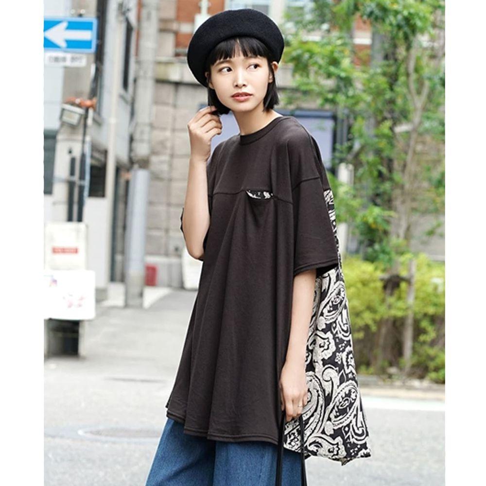 日本 zootie - 前後拼接落肩五分袖長版上衣-黑X黑變形蟲圖騰