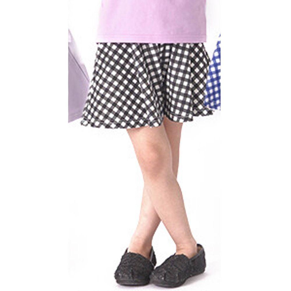 日本 TORIDORY - 蝴蝶結傘狀褲裙-黑白格子