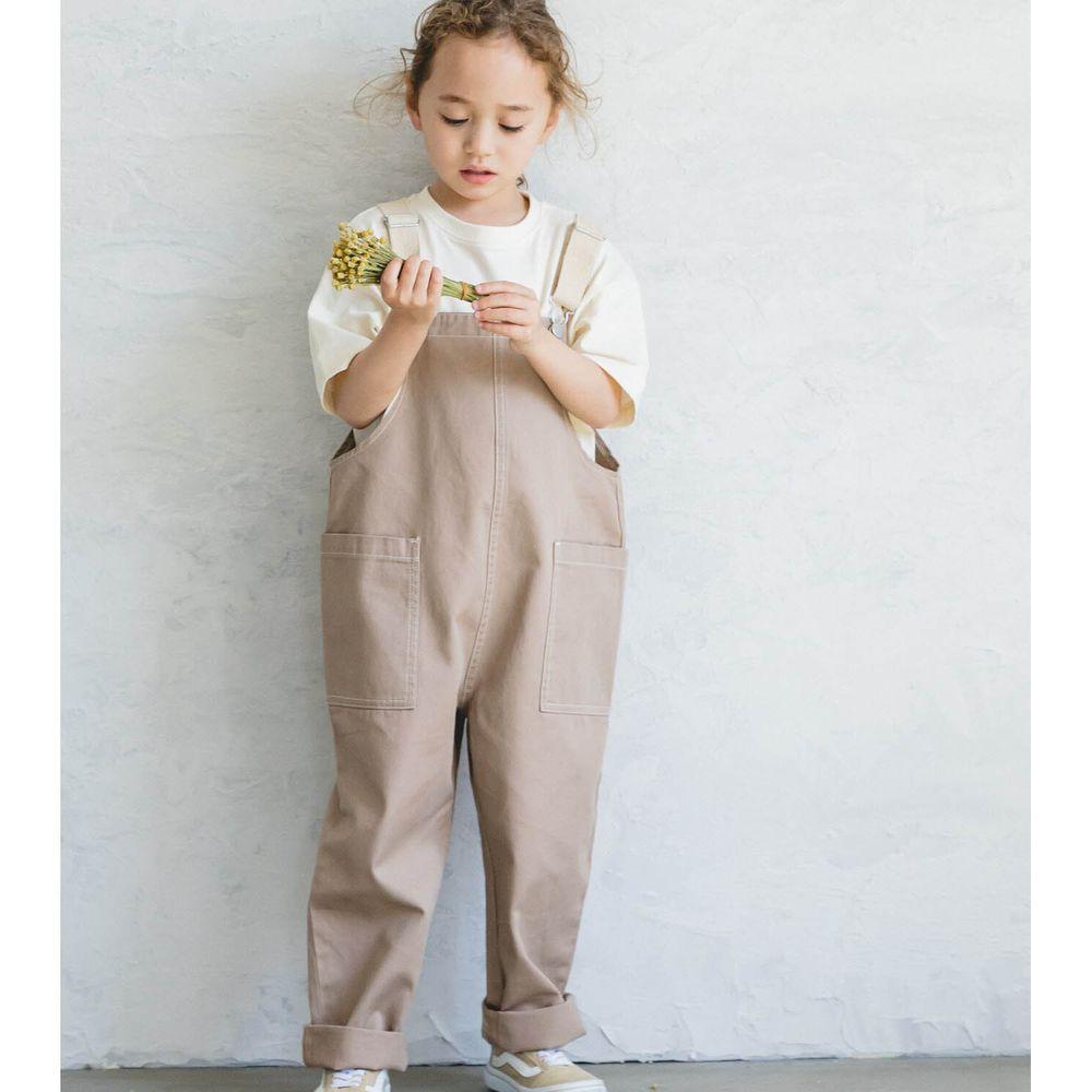 日本 PAIRMANON - 純棉雙口袋吊帶褲-杏