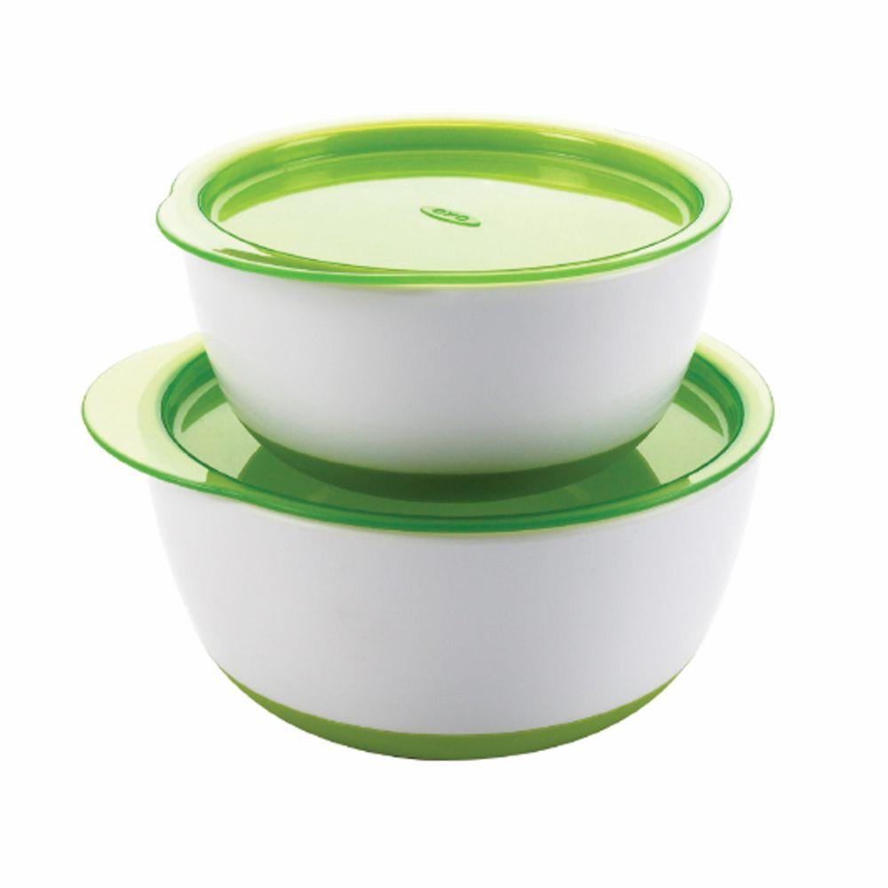美國 OXO - OXO tot 防滑加蓋大小碗組-青蘋綠 (150ml/250ml)