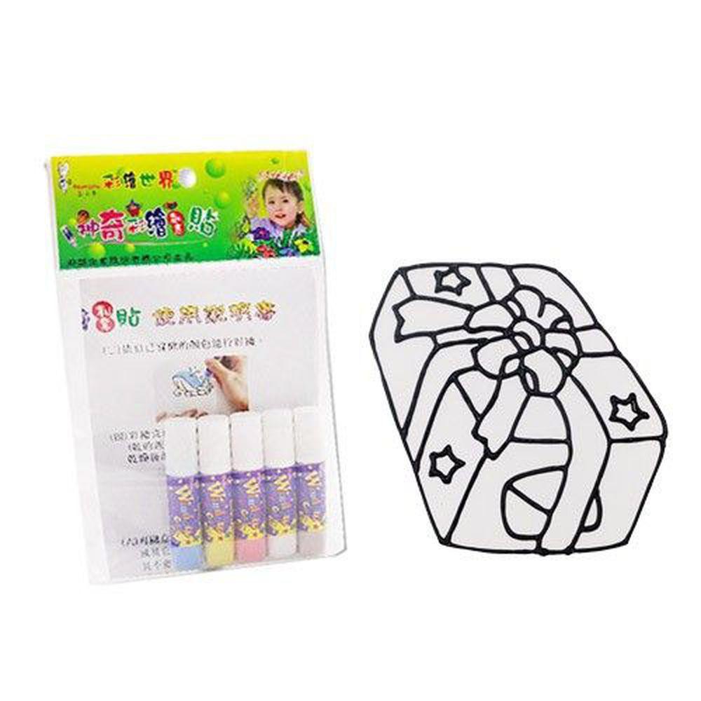 愛玩色創意館 - 彩繪玻璃貼隨手包-12禮物-6ml彩繪筆*5+圖框*1+說明書