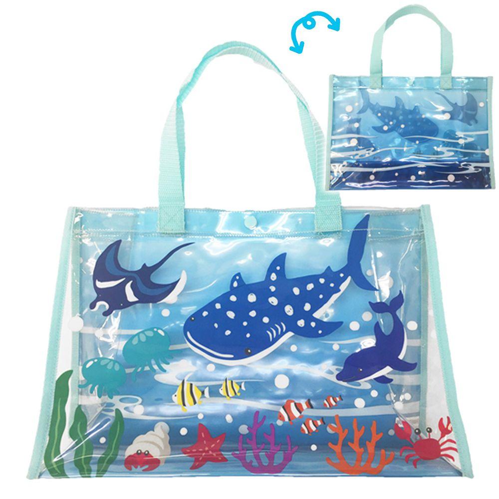 日本服飾代購 - 防水PVC游泳包(雙面圖案設計)-海洋世界-藍 (25x36x13cm)