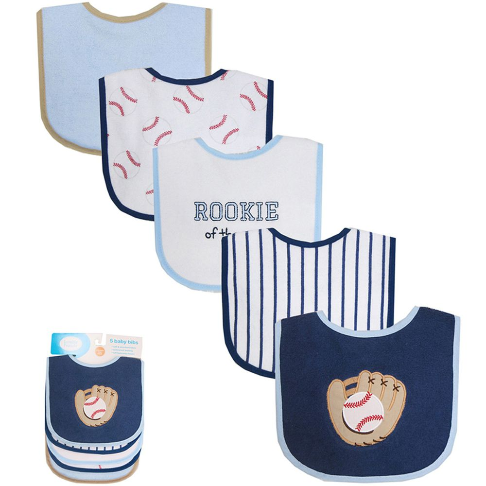 美國 Luvable Friends - 嬰幼兒口水巾圍兜5入組(上層棉質吸水/底層防水)-棒球手套